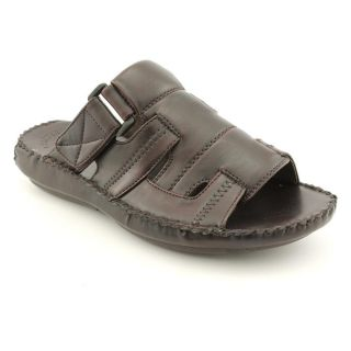 GBX 16748 Mens Size 8 Brown Open Toe Leather Slides Sandals Shoes