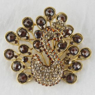 Amber Color Gemstone Rhinestone Peacock Brooch Pin BH031 NW