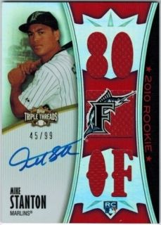 MIKE GIANCARLO STANTON 2010 TRIPLE THREADS AUTO JERSEY RELIC ROOKIE 99