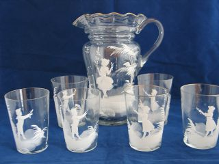 Gregory Enameled Boys and Girls Water Set Pitcher 6 Tumblers