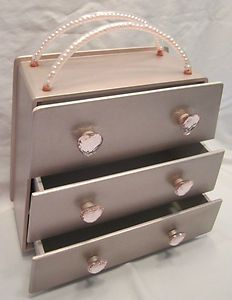 Girls Pink Mini Dresser Jewelry Box w Heart Jewel Drawer Pulls