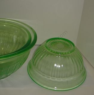 Green Depression Glass Mixing Bowls