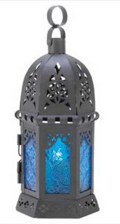 Black Metal Ocean Blue Glass Antique Style Hanging Candle Lantern New