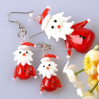 New Red Lampwork Glass Murano Santa Jewelry Set Pendant Earring xmas