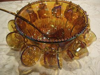 VINTAGE INDIANA CARNIVAL GLASS IRIDESCENT MARIGOLD PRINCESS PUNCH BOWL