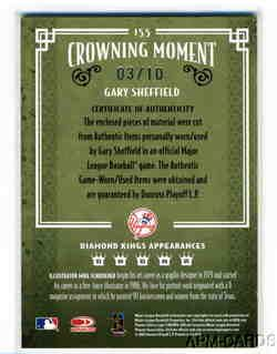 Gary Sheffield 2005 Diamond Kings Yankees Jersey Bat Auto 3 10 Made