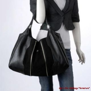 Gigis Fermetur Modern Black Italian Leather Suede Handbag Purse