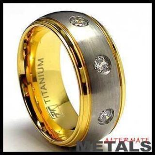 Gold Plated Titanium Wedding Rings Band w CZ 6 to 12