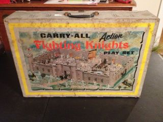 Louis Marx Carry all Fighting Knights Action Playset. Vintage Tin