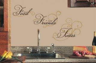 Good Food Good Friends Good Times Reusable Wall Decals Kitchen Dining