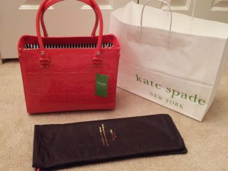NWT Kate Spade Quinn Embossed Ace of Spades Purse Bag CORAL (ORANGE) $