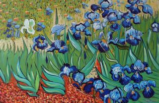 Purple Iris Flowers in Field Famous Van Gogh Repro 24x36 Oil on Canvas