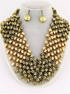 Chunky Two Tone Gold Chain Rings Earring Necklace Set Fashion Costume
