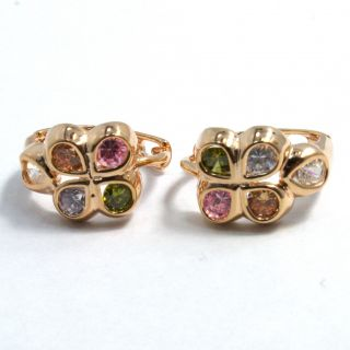 Gold 18K GF Earrings Hoop Huggie Multicolor Crystal Flower Girl Kids
