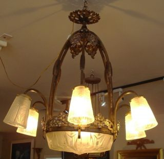 1920 French Art Deco Signed Ceiling Light Fixture
