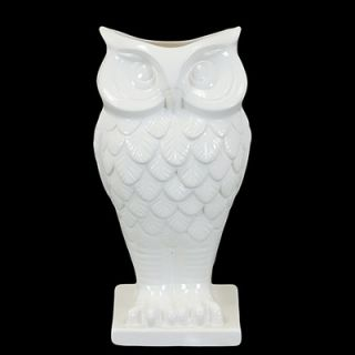 Urban Trends 13.5 White Ceramic Owl Vase