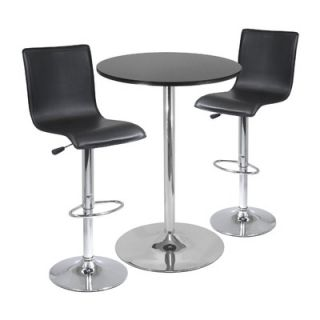 Winsome 28 Round Pub Table with L Shape Airlift Bar Stools Set