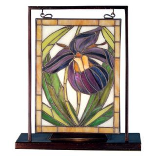 Meyda Tiffany Floral Lady Slippers Lighted Mini Tabletop Window