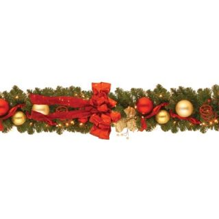 National Tree Co. Pre Lit 9 x 12 Cozy Christmas Garland   DC13