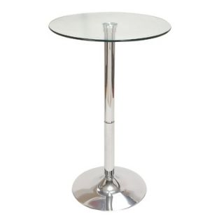 Aspire Chrome Glass Top Pub Table