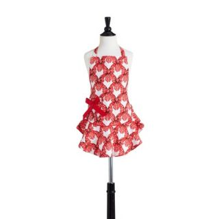 Steele Red Velvet Bows Childrens Bib Josephine Apron   211 JS 204
