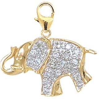 EZ Charms 14K Yellow Gold Diamond Elephant Charm
