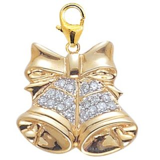 EZ Charms 14K Yellow Gold Diamond Bells Charm