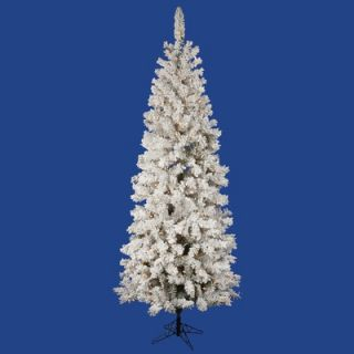 Vickerman Flocked Pacific Pine 6.5 Artificial Pencil Christmas Tree
