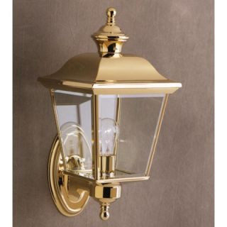 Kichler Bay Shore Outdoor Wall Lantern in Polished Brass and