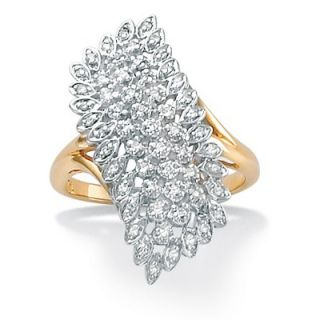 Palm Beach Jewelry 18k Gold/Silver Diamond Cluster Ring