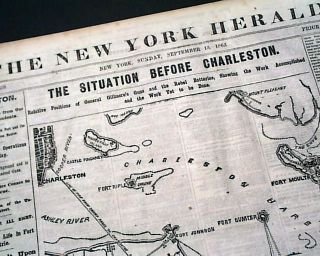Charleston Harbor Forts Sumter Wagner Johnson Moultrie Map Civil War