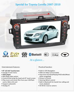 in Dash Car Stereo GPS Nav CD DVD BT iPod Radio for Toyota Corolla