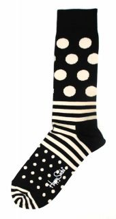 Happy Socks Black White Stripe Polka Dot Mens Dress Sock