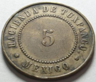 1878 Veracruz Mexico Hacienda de Tuxpango Good for 5 Token Sugar Cane