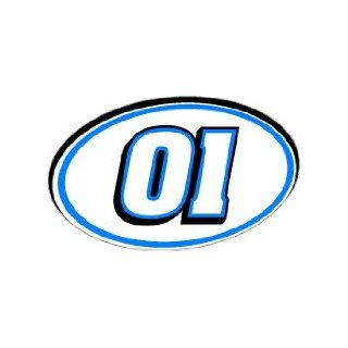 01 Number Jersey Nascar Racing   Blue   Window Bumper Sticker