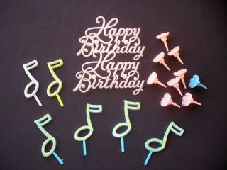 Topper Musical Music Notes Happy Birthday Candle Holder