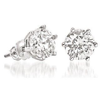 Cubic Zirconia Stud Earrings. 2.5 Carat Total Weight. High Quality
