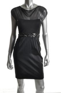 Hoaglund New Black Silk Chiffon Cap Sleeves Beaded Waist Cocktail