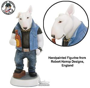 English Bull Terrier Biker Robert Harrop Doggie People Dog Figurine