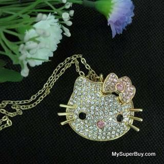 Hello Kitty 4GB 8GB 16GB USB Flash Drive Necklace Key Chain USB Flash