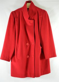 Herman Kay Bright Red Wool Double Breasted Womans Short Coat Sz M