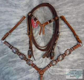 Rawhide Accents Bridle Breastcollar Reins Set New Horse Tack