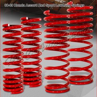 88 89 HONDA ACCORD DX/LX/LXI SUSPENSION RED LOWERING LOWER SPRINGS KIT