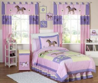 PINK HORSE COWGIRL KID TWIN BEDDING COMFORTER SET FOR GIRL BY SWEET