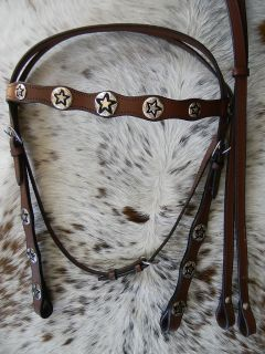Western Horse Bridle Texas Star Conchos Includes Reins New Horse Tack
