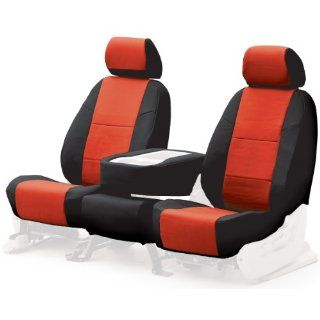 Coverking Custom Fit Front Bucket Seat Cover   Leatherette, Black Red