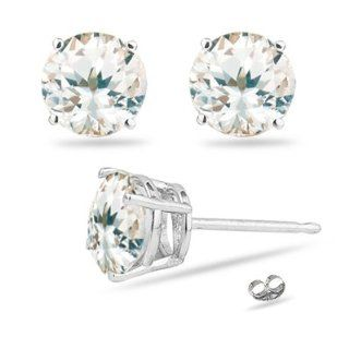 49 Cts ( 5.5mm Round ) of Natural White Sapphire Stud Earrings in