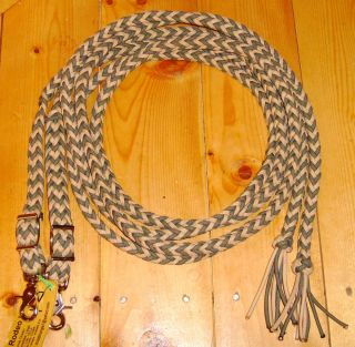 Braided Split Reins Trail Riding Barrel Horse Tack Green Tan Paracord