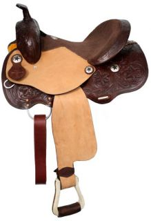 Western Barrel Style Saddle w/ Star Conchos in DARK Oil Horse Tack NEW