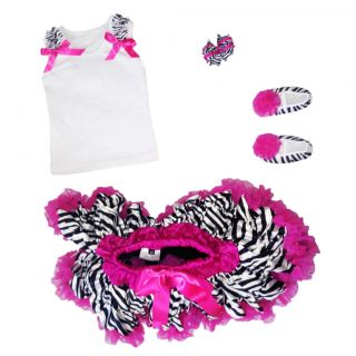 Pettitop Pettiskirt Shoes and Bow Hot Pink Zebra Outfit Toddler